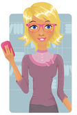 Cute business woman holding a cell phone — Stock Vector