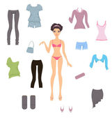Cute paper doll with assortment of clothes — Stock Vector