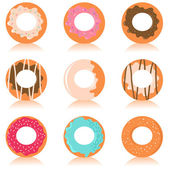 Set of colorful donuts with different design — Stock Vector