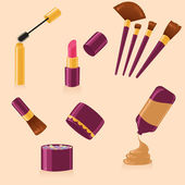 Vector set of different make up — Stock Vector
