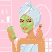 Girl applying facial mask with brush — Stock Vector