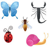 Vector cute set of insects — Stock Vector