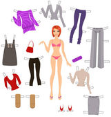 Dress-up paper doll — Stock Vector