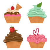 Set of four vector cupcakes — Stock Vector