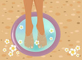 Beautiful feet in a SPA bowl — Stock Vector