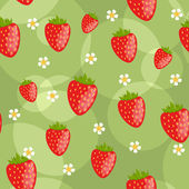 Seamless green background with strawberries — Stock Vector