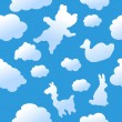 Stock Vector: Seamless animal clouds background