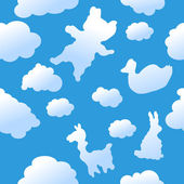 Seamless animal clouds background — Stock Vector