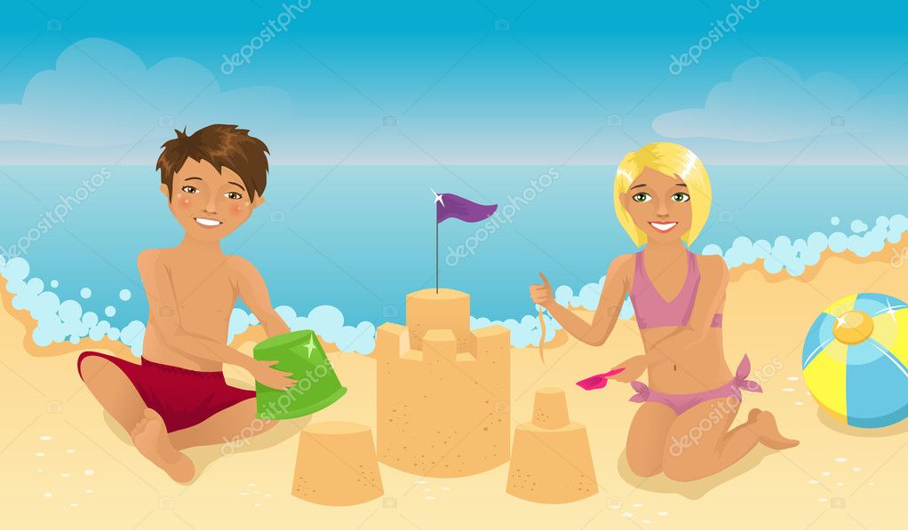 Kids playing on the beach  Stock Vector #5305676