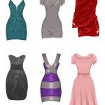 Set of female dresses — Stock Vector