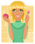 Dívka použití prášku s make-up štětce — Stock vektor