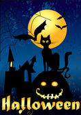 Halloween card with black cat — Vector de stock