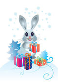 Rabbit with gifts — Stock Vector