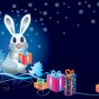 Stock Vector: White rabbit with gifts