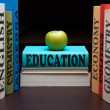 Education study books and apple — Stock Photo #4014811