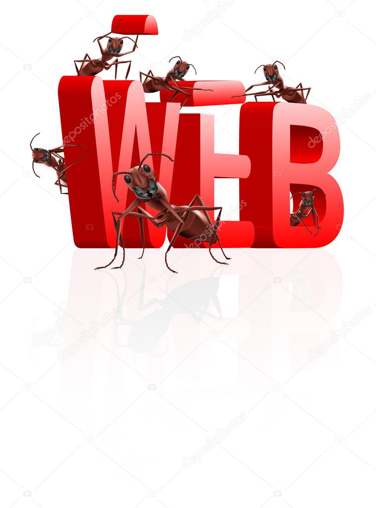 Web website internet site under construction ants building word www — Stock Photo #4015289