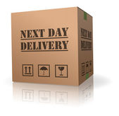 Next day delivery cardboard bod shipment — Stock Photo
