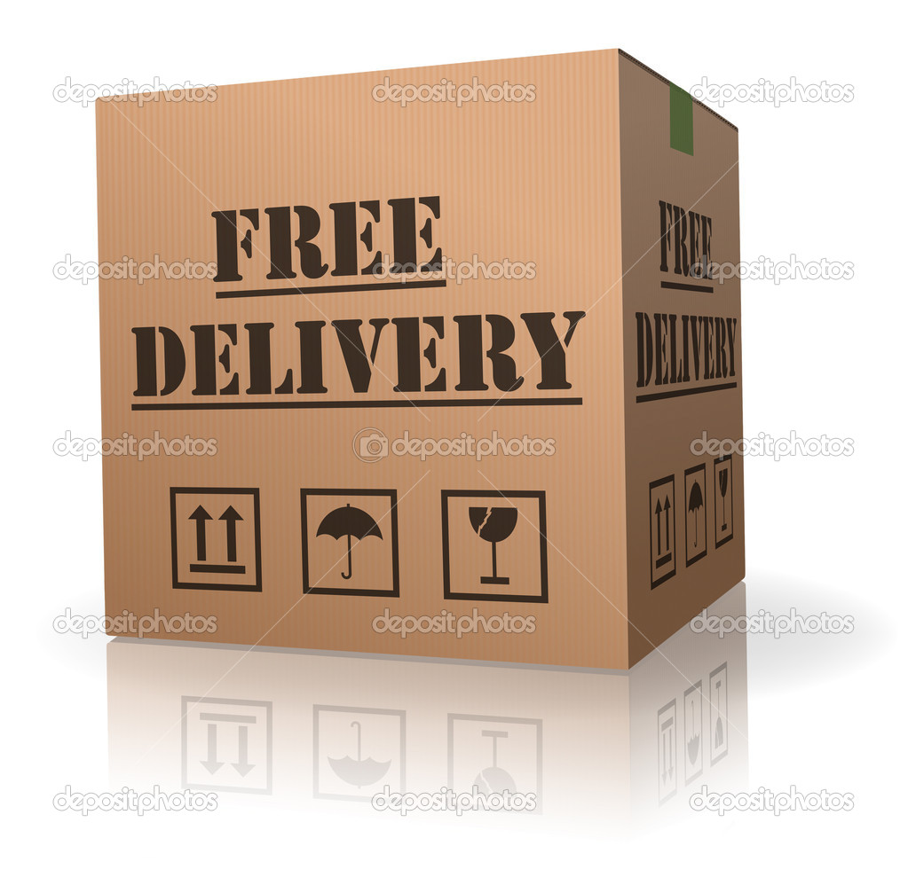Shipping package free delivery cardboard parcel with text order shipment logistics after online shopping deliver packet or relocation and moving  Stock Photo #4058714