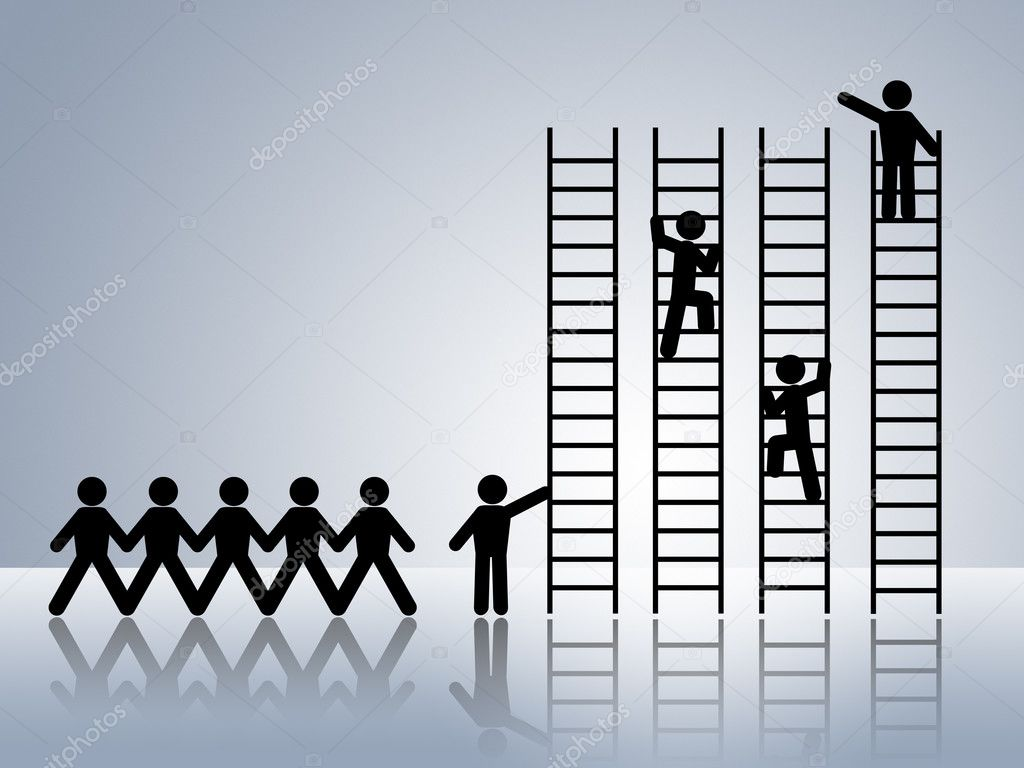 job promotion stock photo copy kikkerdirk  paper chain figures business man climbing ladder of success and getting job promotion photo by kikkerdirk