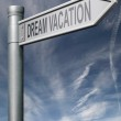 Dream vacations road sign with clipping path — Stock Photo #5073628