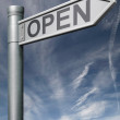 Open road sign clipping path — Stock Photo