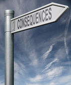 Consequences road sign clipping path — Stock Photo