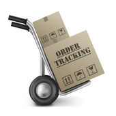 Order tracking cardboard box hand truck — Stock Photo