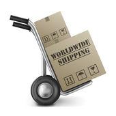 Worldwide shipping cardboard box hand truck — Stock Photo