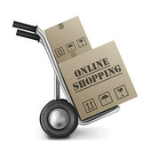 Online shopping cardboard box — Stock Photo