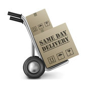 Same day delivery cardboard box — Stock Photo