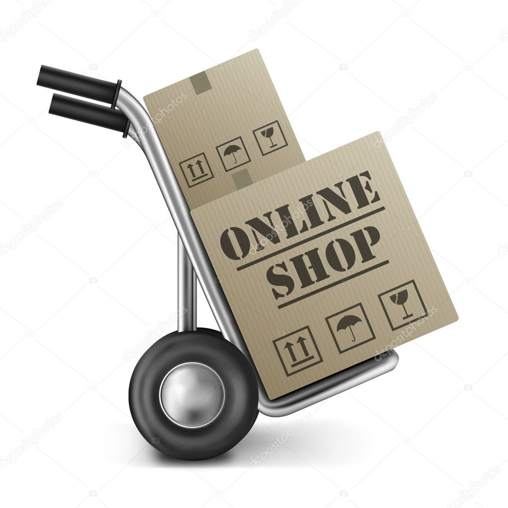 Online shop cardboard box internet shopping store to order online on the web — Stock Photo #5176436