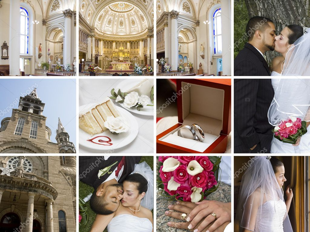 Collage of many different wedding related images in the same picture — Stock Photo #4180437