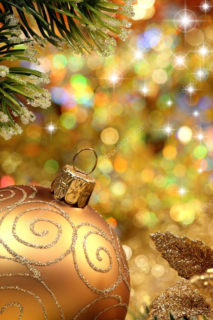 Christmas glitter ball and fir branch as christmas decoration. — Stock Photo #4354524