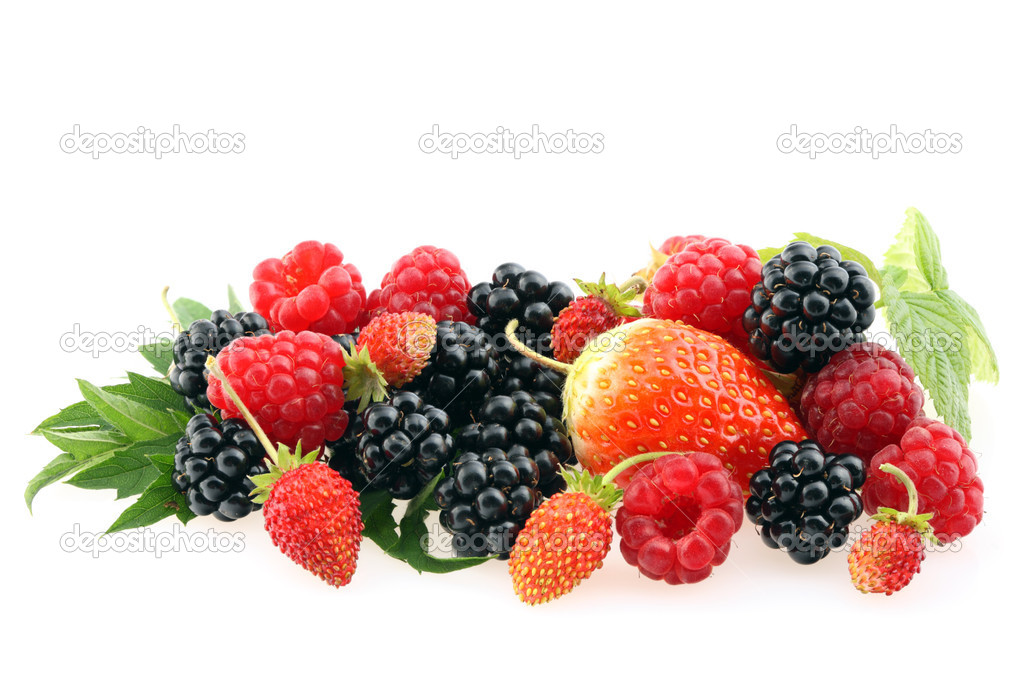 Fresh berries isolated on a white background.  Stock Photo #4797561