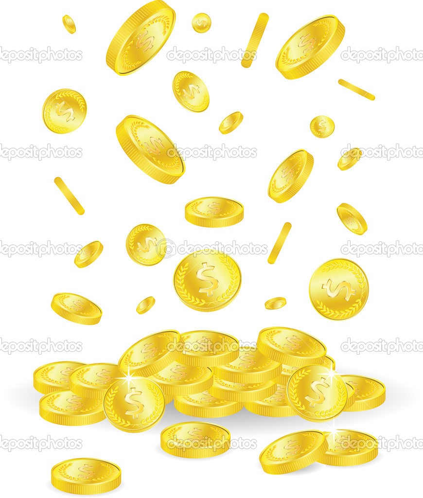 Vector golden coins with dollar sign  Stock Vector #3934748