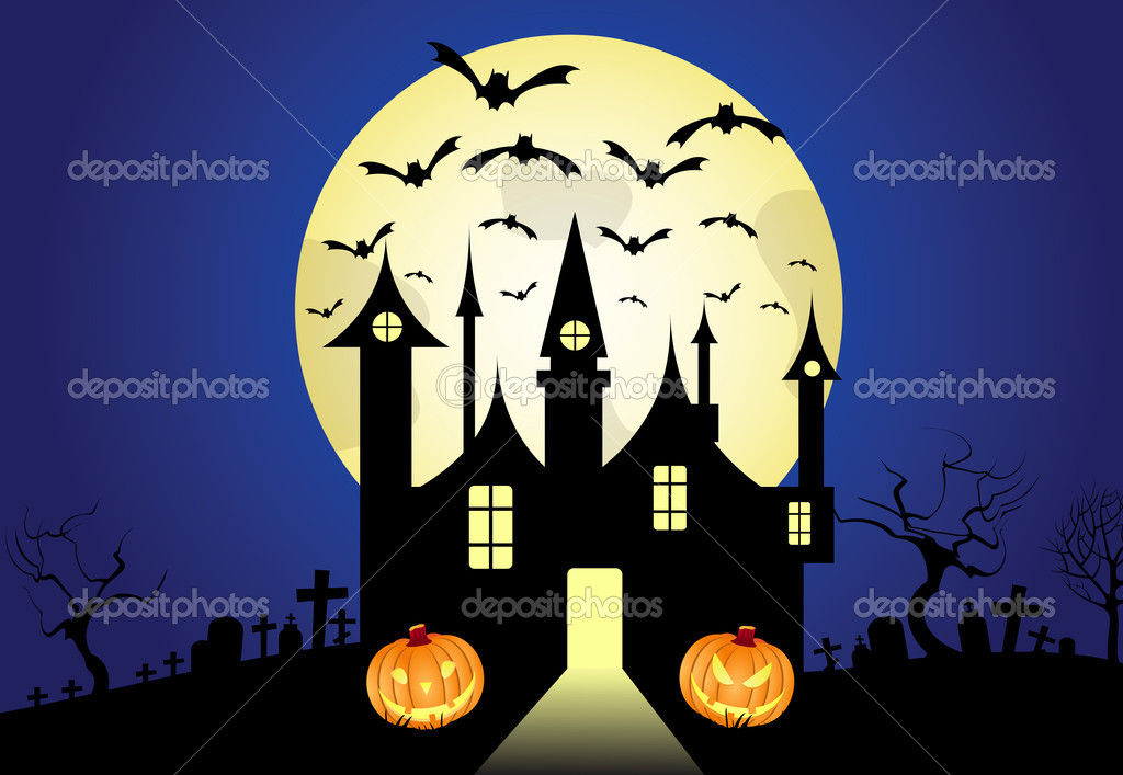 Halloween horizontal background, vector , pumpkin — Stock Vector #4004241