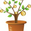 Plant with golden coins - Stock Vector