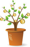 Plant with golden coins — Stock Vector