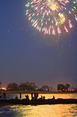 Fireworks Over the Water — Stock Photo