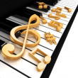 Treble clef is on the piano — Stock Photo #4726329