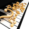 Treble clef is on the piano — Stockfoto