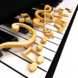 Treble clef is on the piano — Stock Photo