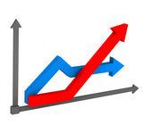 3d arrow on the chart — Stock Photo