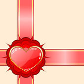 Gift ribbon with red heart — Stock Vector