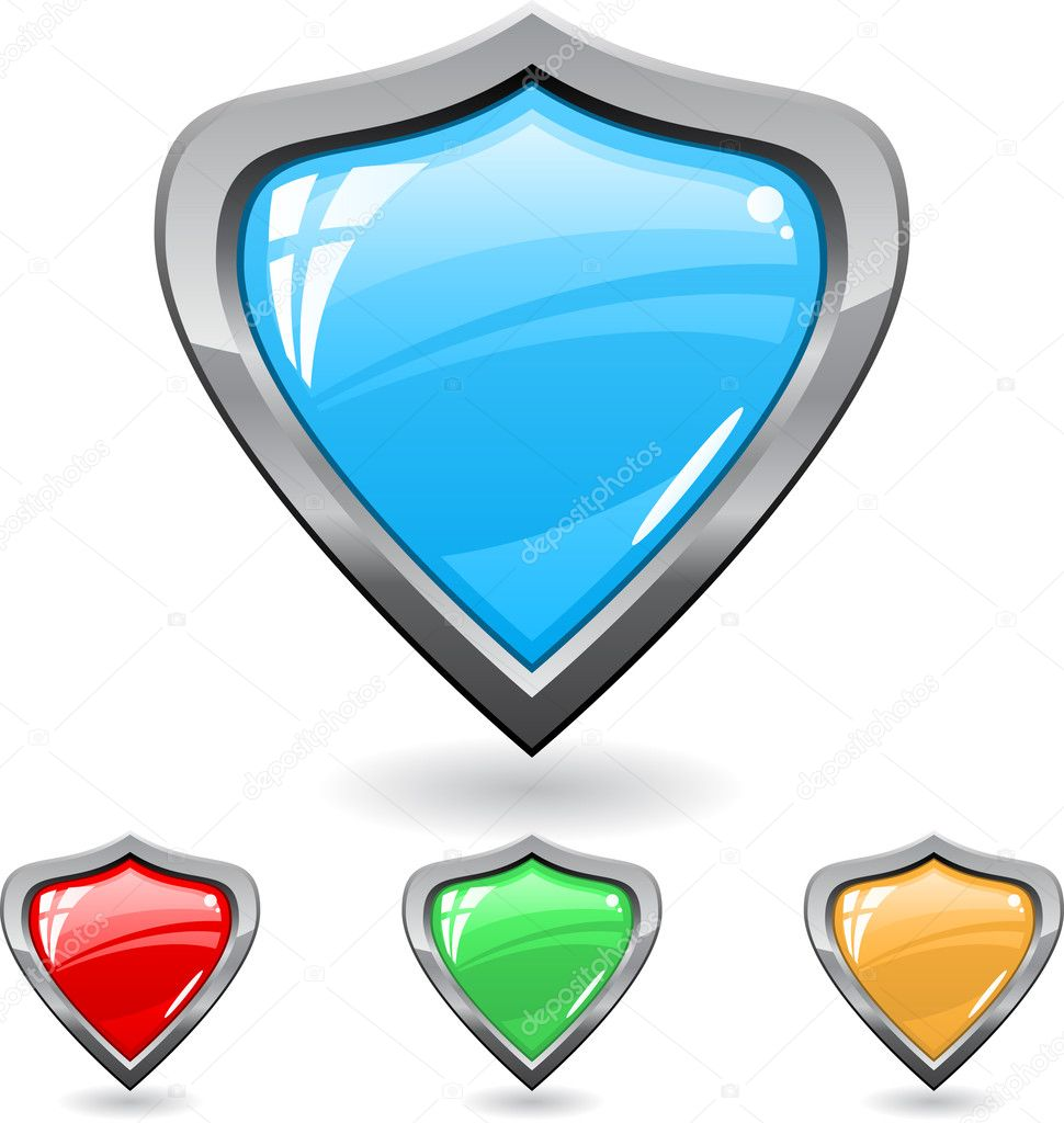 Set of a shields different colors with shadow  Stock Vector #5181155