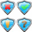 Shields with signs — Stock Vector