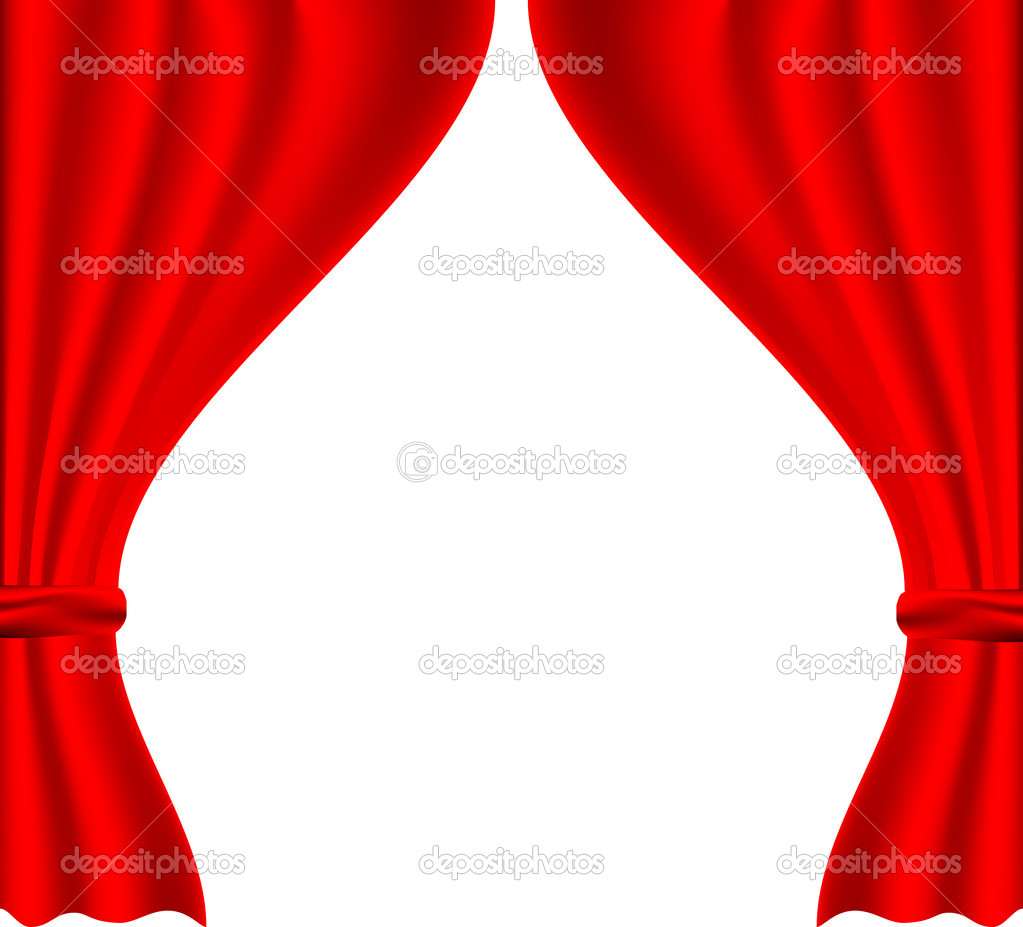 Red backstage with pleats and a white background — Stock Vector #5372465