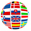 图库照片: Globe of world flags