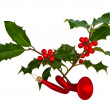 Holly ilex on white - Stock Photo