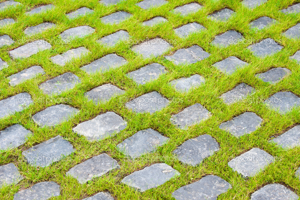 Background of street stones between grass — Stock Photo #4527600